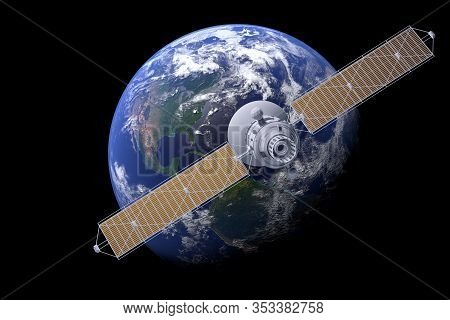 Space Satellite Communication In Orbit Around Earth Globe. 3d Render Orbital Sputnik Illustration. E