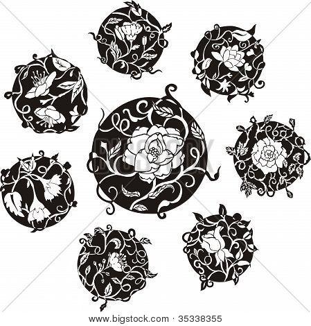Round Decorative Flower Dingbat Designs