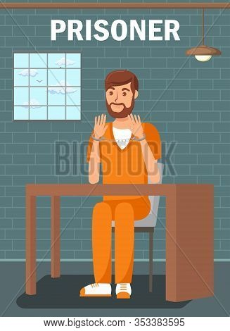 Prisoner Sitting In Jail Cell Flat Poster Template. Bearded Male In Interrogation Room. Convicted Ma
