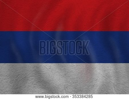 Serbia Concept With Serbian Flag Background. Travel And Learn Serbian Language
