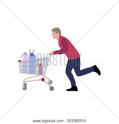 Man With Full Cart From Supermarket. Vector Character Run Away Hypermarket, Person With Pushcart Aft