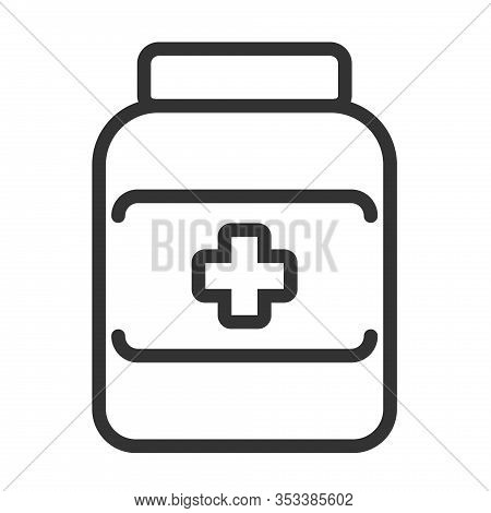 Medical Potion Outline Vector Icon Isolated On White Background. Medical Potion Flat Icon For Web, M