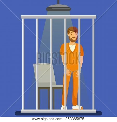 Prisoner Behind Metal Bars Vector Illustration. Handcuffed Jailed Man Standing In Cell, Cage Cartoon