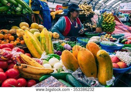 Cuenca, Ecuador - February 11, 2020: Traditional Ecuadorian Food Market Selling Agricultural Product