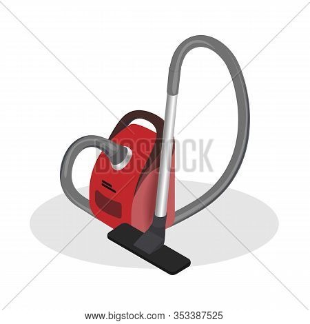 Realistic Vacuum Cleaner Isometric Illustration. 3d Domestic Appliance For Cleaning Floor, Carpet, P