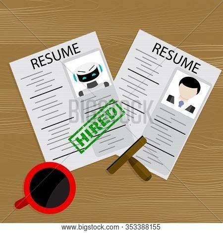 Hiring Robot, Choosing Human Or Robot Candidate For Job. Vector Headhunter Workplace, Illustration C