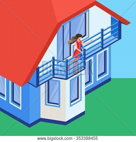 Girl Waving Hand On Balcony Flat Illustration. Beautiful Young Girl, Lady Cartoon Character. Housewi