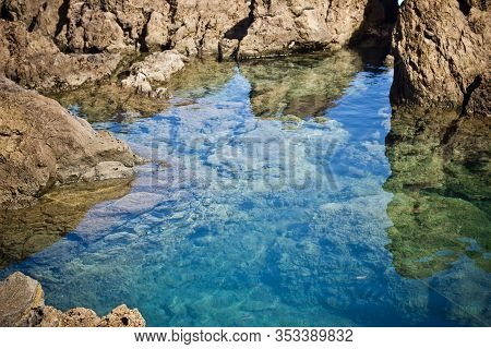 Lava Pools Madeira. Porto Moniz Natural Swimming Pools Background. Lava Rock Beautiful Portugal Land