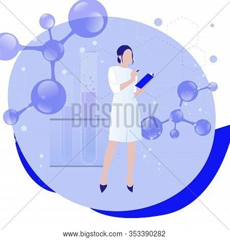Female Scientist In Lab Coat Researching Molecular Connection. Concept Of Biochemistry, Research, An