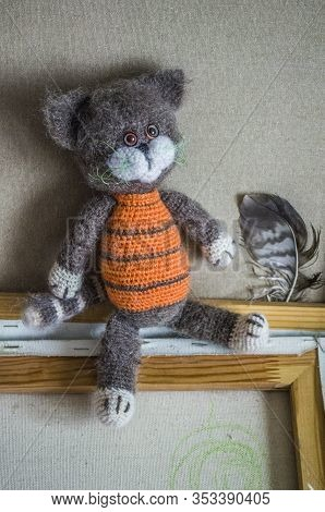 Knitted Striped Handmade Crafted Cat. Children's Toy. Crochet Pattern.
