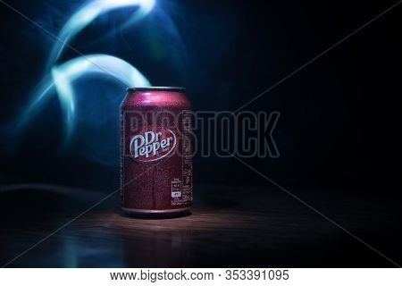 Baku, Azerbaİjan - September 15, 2019: Can Of Dr Pepper Soft Drink On Dark Toned Foggy Background Wi