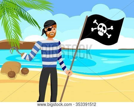 Pirate, Booty Hunter Color Vector Illustration. Corsair In Striped T Shirt And Eyepatch Cartoon Char