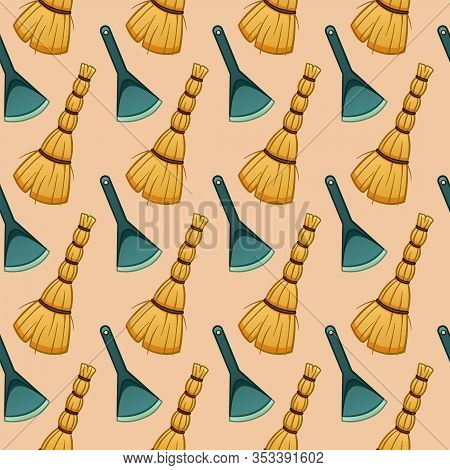 Cartoon Style Besoms And Dustpans For Cleaning Seamless Pattern On Beige Background
