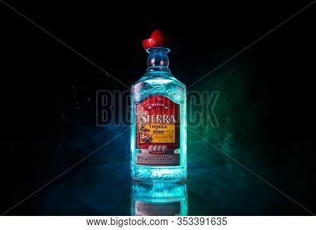 Baku, Azerbaijan - June 16. 2019. Bottle Of Sierra Tequila, A Brand Of Liquor Belonging To The Compa