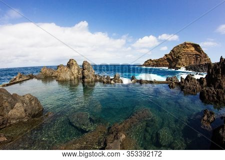 Lava Pools Madeira. Porto Moniz Natural Swimming Pools. Lava Rock Beautiful Portugal Landscape. Sunn