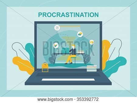 Redeem Time Flat Banner With Hard Working Man. Busy Overworked Businessman On Huge Laptop Screen Per