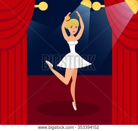Ballet Performance Flat Color Vector Illustration. Graceful Lady In Pointe Shoes And Ballet Tutu Car