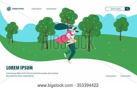 Bright Flyer Summer Romance In Park Cartoon Flat. Romantic Banner Active Actions Significantly Impro