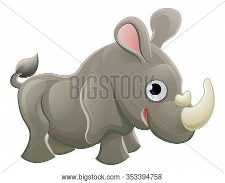 A Cute Rhinoceros Rhino Animal Cartoon Character Mascot