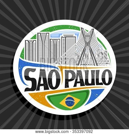 Vector Logo For Sao Paulo, White Decorative Circle Tag With Illustration Of Contemporary Sao Paulo C