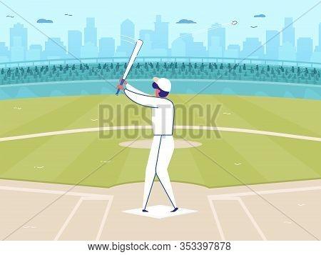 Cartoon Baseball Player In White Uniform Cap Hitting Ball Into Sky Vector Illustration. Man Softball