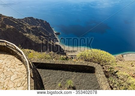 Viewpoint Isora In El Hierro Island. Spectacular Views From The Point Above The Clouds. Canary Islan