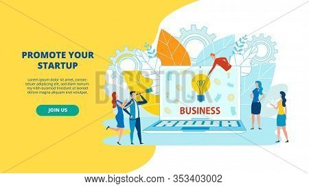 Group Animated Cartoon Characters Think About Business Development. Man With Telescope, Laptop, Read