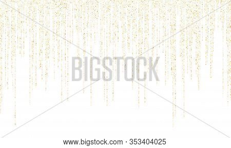 Square Confetti Gold Garlands Vector Illustration On White. Bright Hanging Garlands Made Of Square S