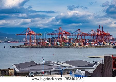 Vancouver - May 06 2019: Downtown Vancouver, Canada. View From Above To Many Containers In The Port,