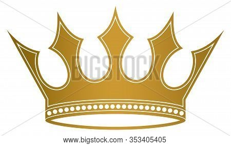 Crown With Jags In Gold On White Isolated Background. A Proper Designed Crown Illustration. Useable