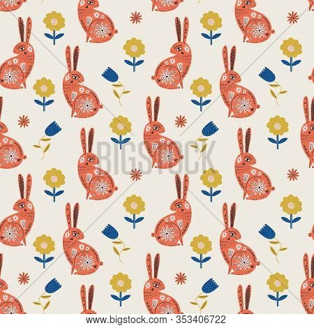 Modern Folk Tribal Boho Animals And Flowers In Scandinavian Style. Floral Slovak Ornament, Inspired