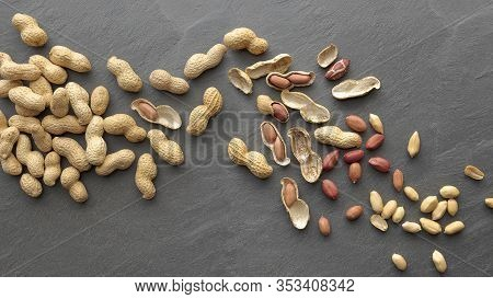 Flat Lay Wave Shape Of Roasted Peanuts, Peanuts In Skin And Peanuts In Shell, Food Ingredients, Arac