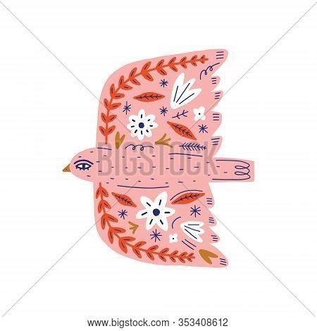 Modern Folk Tribal Boho Patterned Animal In Scandinavian Style. Floral Slovak Ornament, Inspired By