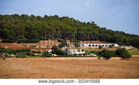 Traditional Spanish White Washed Villa, Guest House And Hotel Near Hiking Path On Sea Coast In Atali