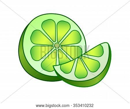 Green Lemon Is A Citrus Fruit. Cut Lime - Vector Full Color Picture. Half And A Slice Of Juicy Sour