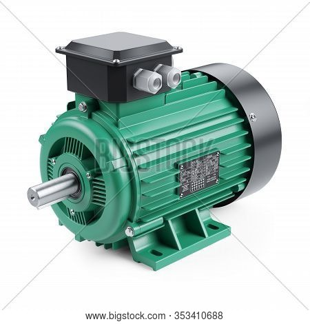 Electric Ac Motor Three Phase Induction Isolated On White Background 3d