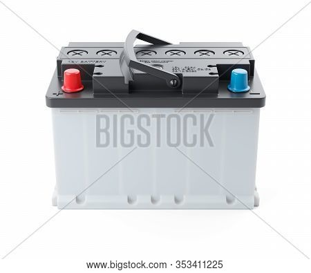 New Car Battery 12v Isolated On White Background 3d