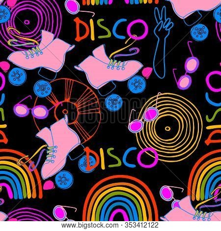 Seamless Pattern. Roller Skate Party Concept. Early 1980s Style Design