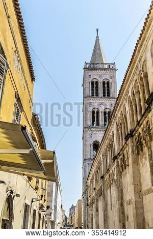 Bell Tower, Cathedral Of St. Anastasia, Zadar, Croatia. Travel Destination. Religious Architecture.