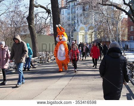 People In Costume Squirrel In The Park. Russia, Saratov - March, 2020