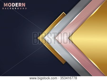 Abstract Modern Golden, Pink Gold, Silver Triangle Overlapping Layered On Dark Blue Background With