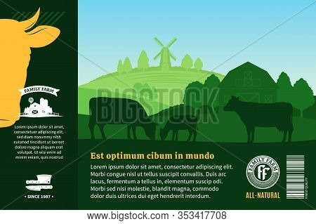 Vector Farm Fresh Beef Illustration. Rural Landscape With Cows, Calves And Farm. Butcher Shop Or Cat