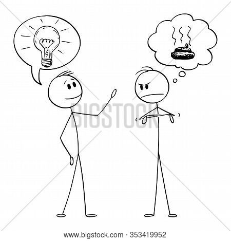 Vector Cartoon Stick Figure Drawing Conceptual Illustration Of Two Men Or Businessmen, One With Idea