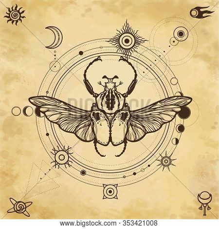 Mystical Drawing: Bug Goliath, Moon Phases, Orbits Of Planets, Energy Circle. Sacred Geometry. Alche