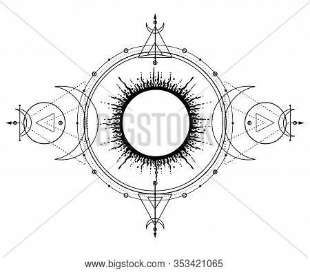 Mystical Drawing: Sun System, Moon Phases, Orbits Of Planets, Energy Circle. Sacred Geometry. Alchem