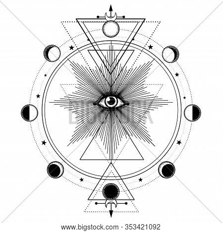 Mystical Drawing: All-seeing Eye, Orbits Of Planets, Phases Of Moon, Energy Circle. Sacred Geometry.