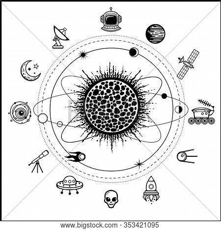 Mystical Drawing: Stylized Solar System, Orbits, Planets. Set Of Space Icons. Monochrome Vector Illu