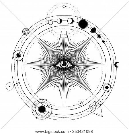 Mystical Drawing: Stylized Solar System, Orbits Of Planets, Phases Of The Moon. All-seeing Eye. Alch