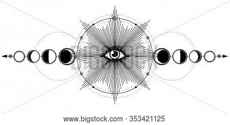 Mystical Drawing: Shining All-seeing Eye,  Phases Of Moon, Energy Circle. Alchemy, Esoteric, Occulti