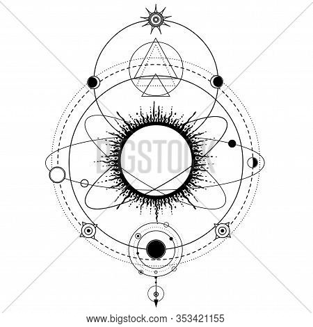 Mystical Drawing: Stylized Solar System, Orbits Of Planets, Space Symbols. Sacred Geometry. Alchemy,